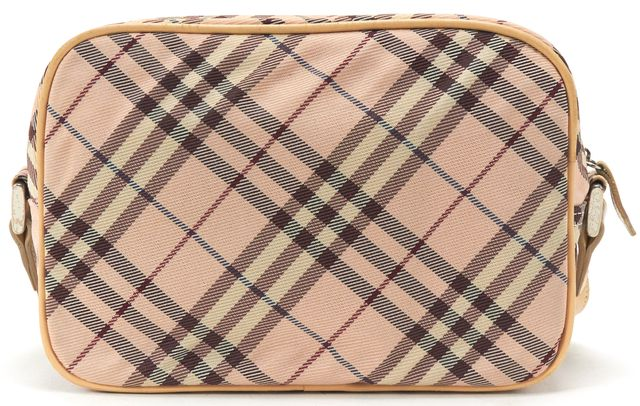 BURBERRY Pink Nude Nova Check Canvas Crossbody Handbag