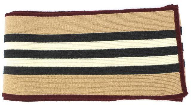 BURBERRY Beige White Red Striped Wool Extral Long Scarf