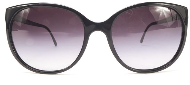 BURBERRY Black Acetate Metal Oval Frame Gradient Lens Sunglasses