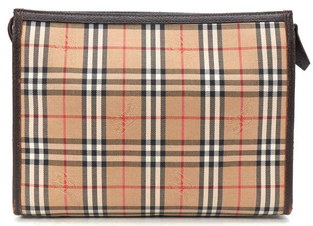 BURBERRY Beige Haymarket Check Canvas Clutch Bag