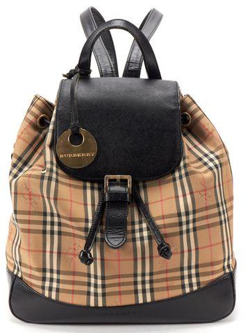 BURBERRY Beige Black Haymarket Check Canvas Mini Backpack Bag