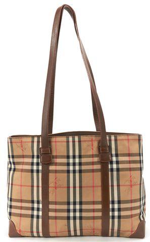 BURBERRY Beige Haymarket Check Canvas Tote Bag