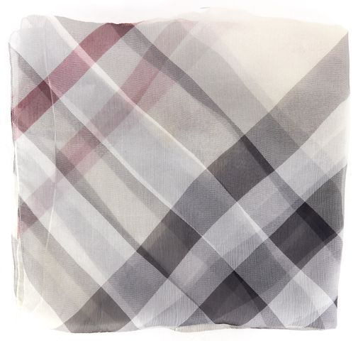 BURBERRY White Gray Pink Check Silk Long Scarf
