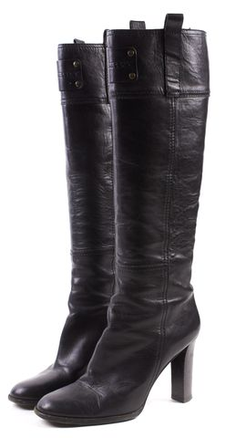 BURBERRY Black Leather Knee High Stacked Heels Boots 7 EU 37.5
