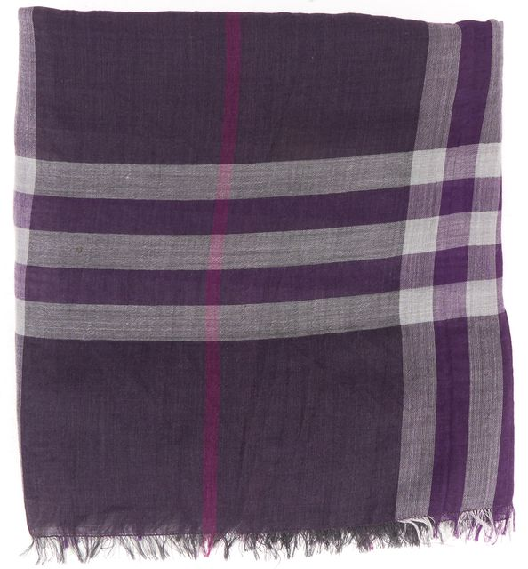 BURBERRY Purple Gray Light Weight House Check Fringe Long Scarf