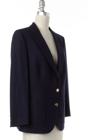 BURBERRY Navy Blue Wool Two Gold Button Blazer