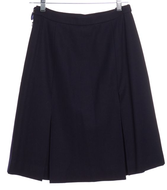 BURBERRY Navy Blue Wool Pleated Skirt