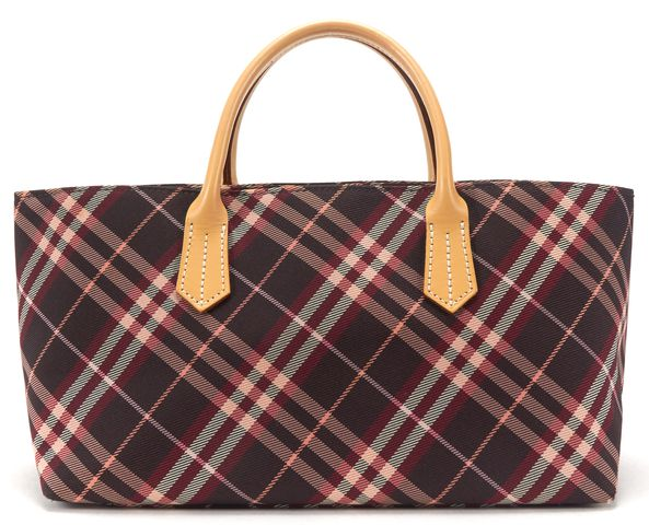 BURBERRY Purple Multi Nova Check Canvas Top Handle Handbag