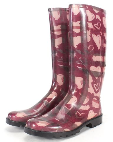 BURBERRY Pink Check Hearts Rubber Rainboots Size 39