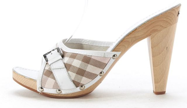 BURBERRY Pink Nova Check Wood Heel Sandals