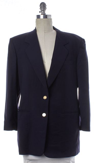 BURBERRY Navy Blue Two Button Blazer Fits Like