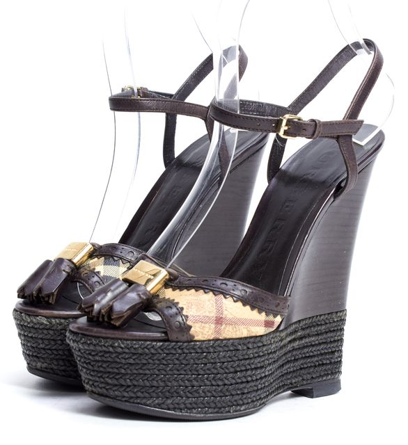 BURBERRY Brown Leather Haymarket Check Wedge Sandal Heels