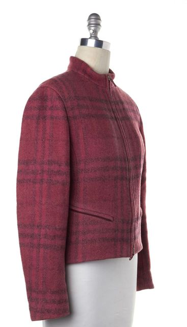 BURBERRY Pink Black Multi Plaid Wool Basic Jacket