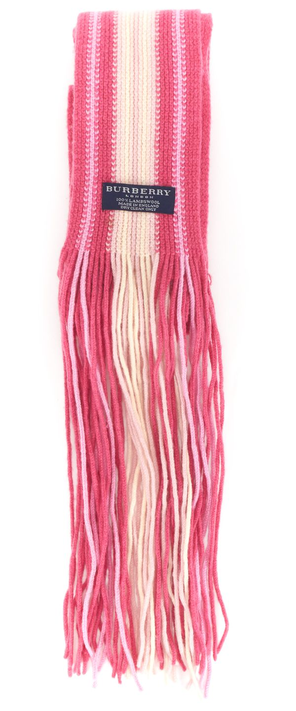 BURBERRY Pink White Striped Wool Long Fringe Scarf