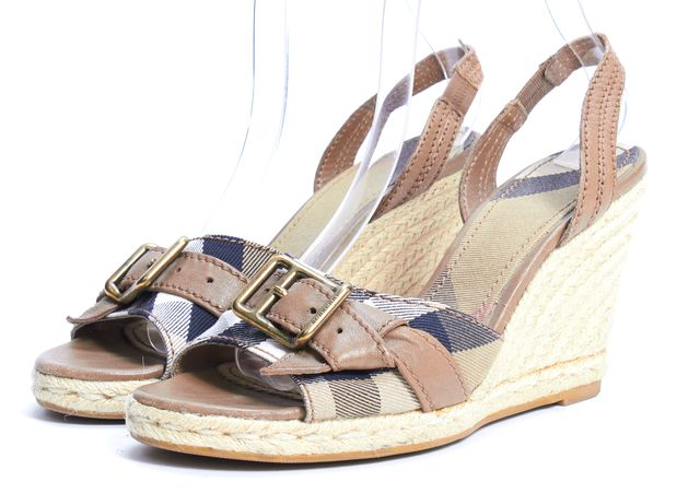 BURBERRY Brown Plaid Check Espadrille Sandal Wedges