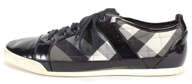 BURBERRY Black Patent Leather Quilted Textile Sneaker
