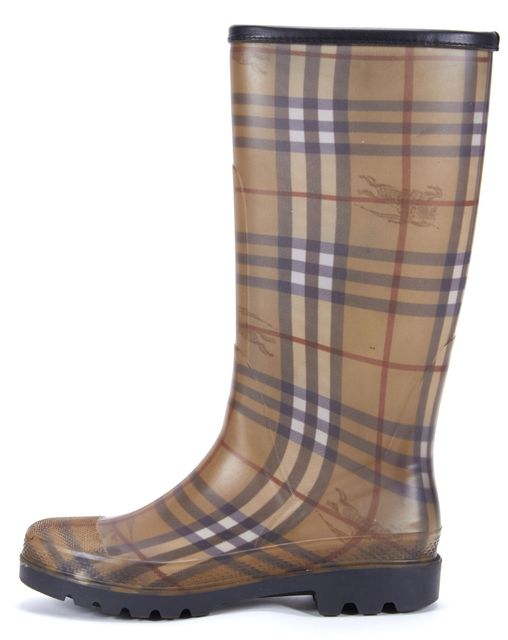 BURBERRY Brown Check Rubber Knee High Rain Boots