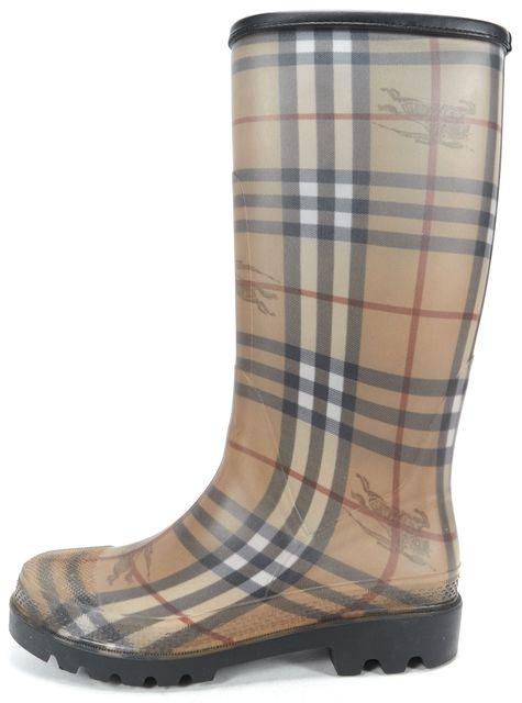 BURBERRY Beige Black Red Plaids & Checks Logo Rainboots Tall Boots