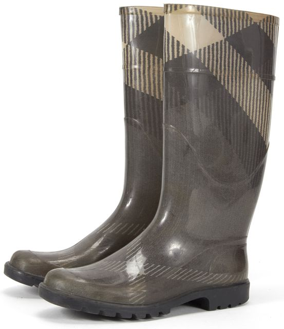 BURBERRY Gray Check Rainboots