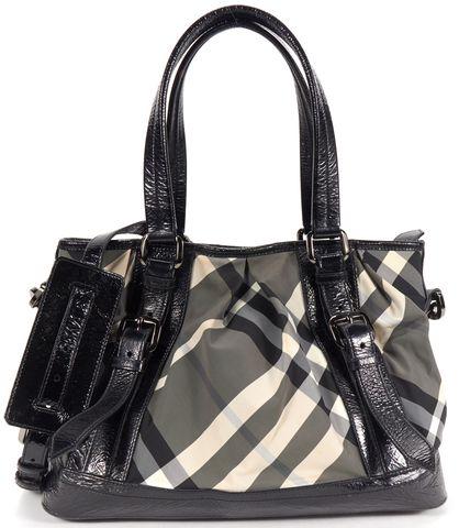 BURBERRY Authentic Beige Black Check Print Patent Leather Detail Satchel Bag