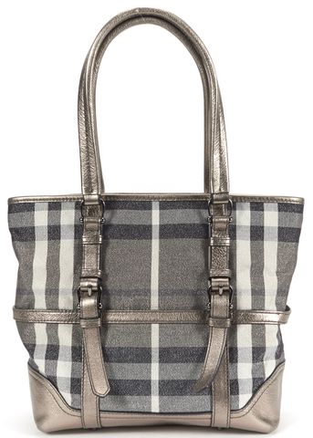 BURBERRY Authentic Multi Color Metallic House Check Canvas Leather Trim Tote Bag