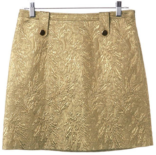 BURBERRY Gold Jacquard Wool Pencil Skirt