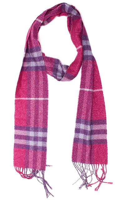 BURBERRY Pink Purple Nova Check Long Fringe Scarf