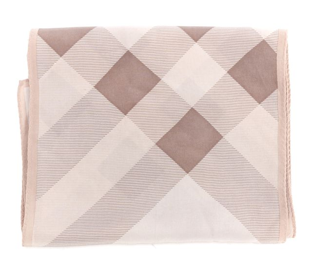 BURBERRY Beige Plaids Silk Long Scarf