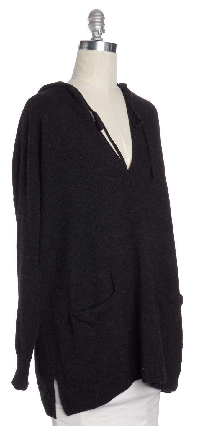 BURBERRY Gray Cashmere V Neck With Hood Fits Like a L