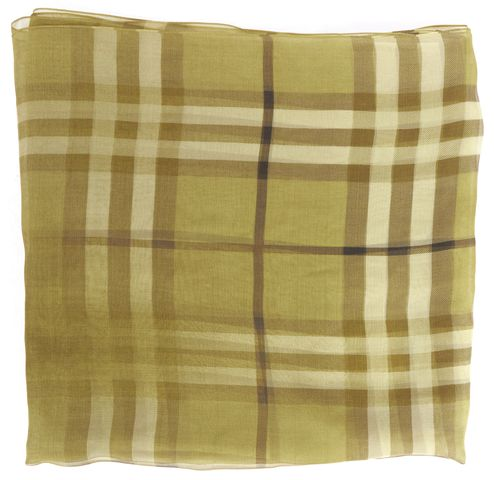 BURBERRY Green House Check Silk Scarf