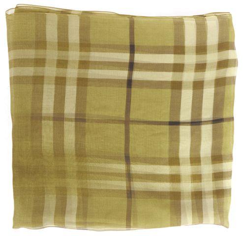 BURBERRY Green House Check Silk Scarf