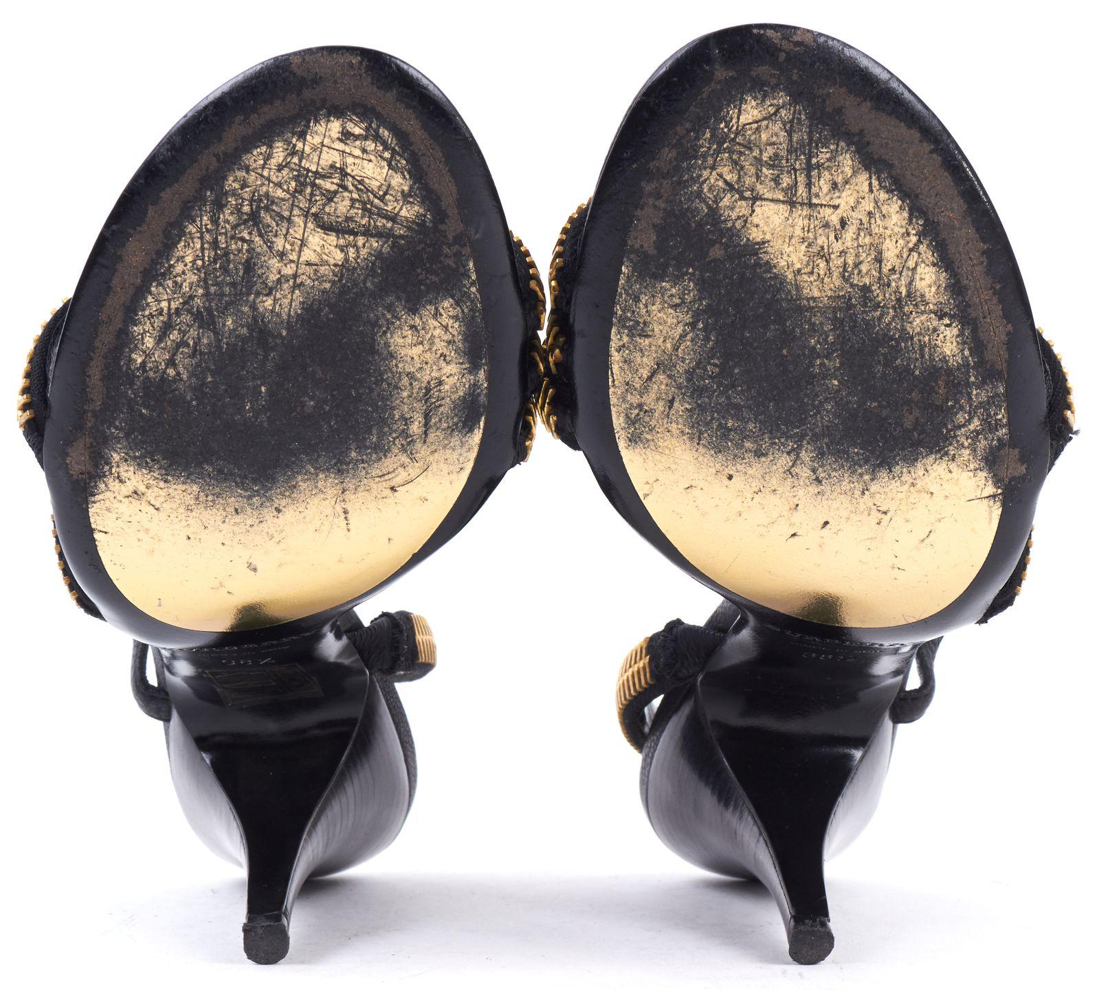 BURBERRY Black Leather Gold Zipper Detail Sandals