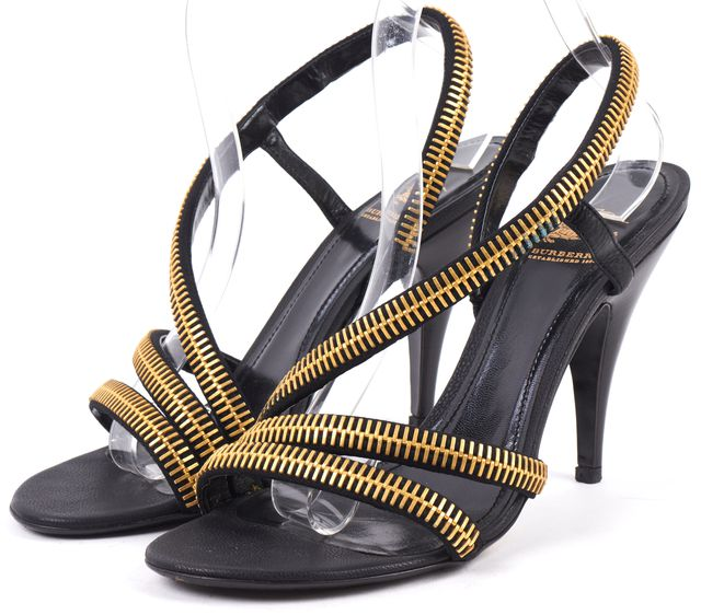 BURBERRY Black Leather Gold Zipper Detail Sandals