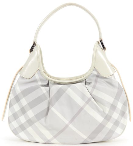 BURBERRY White Gray Nova Check Nylon Patent Leather Hobo Shoulder Bag