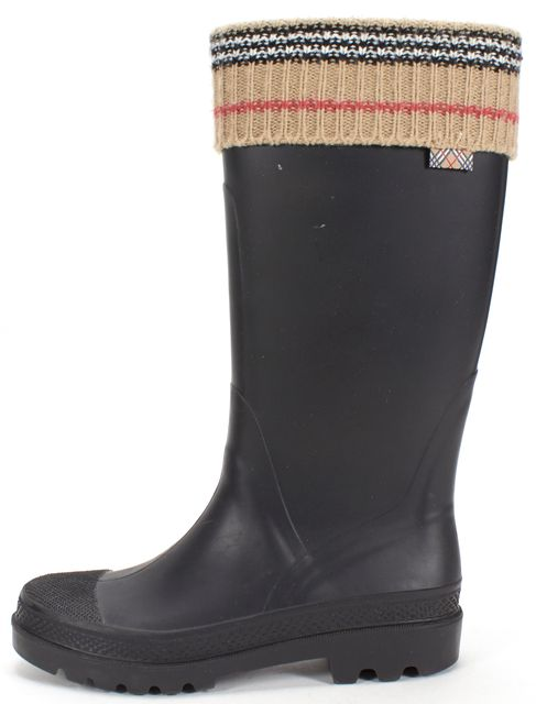 BURBERRY Black Rubber Beige House Check Knit Trim Rain Boots