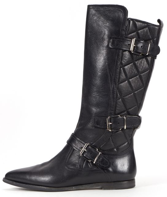 BURBERRY Black Quilted Leather Buckle Detail Knee High Boots