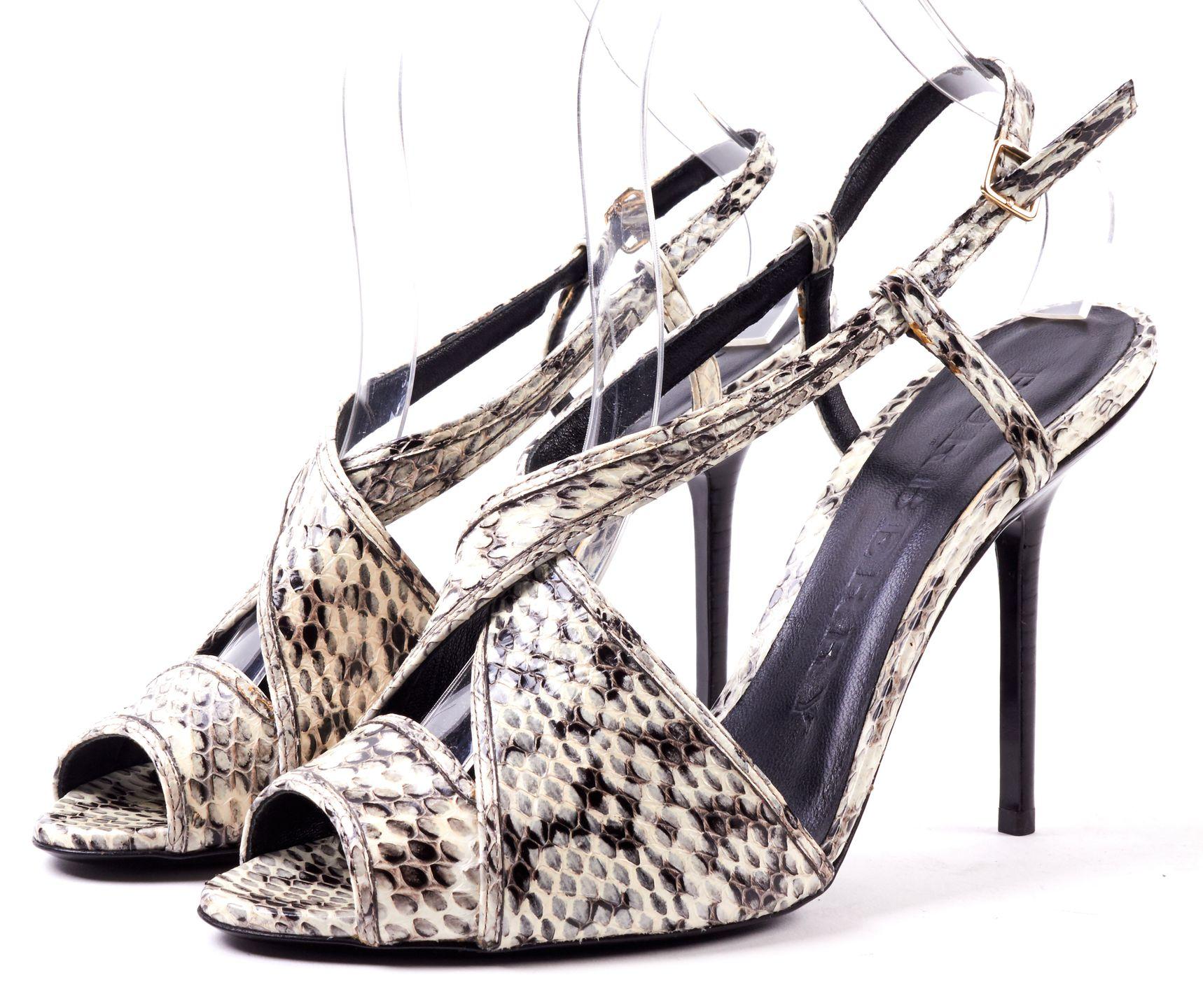 BURBERRY White Black Snake Embossed Leather Cris Cross Heel Sandals