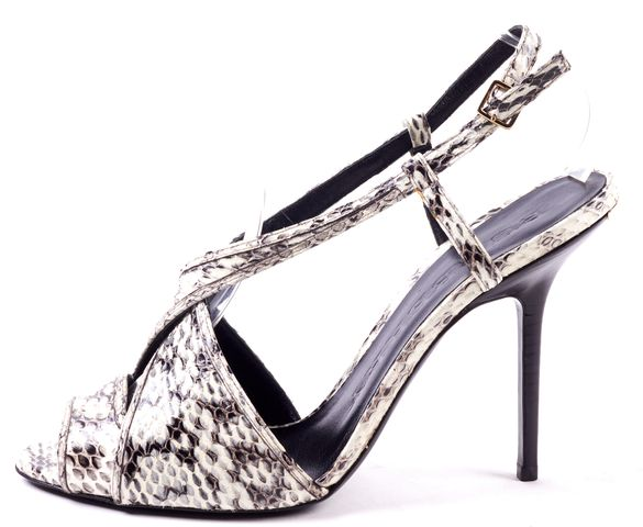 BURBERRY White Black Snake Embossed Leather Cris Cross Heel Sandals