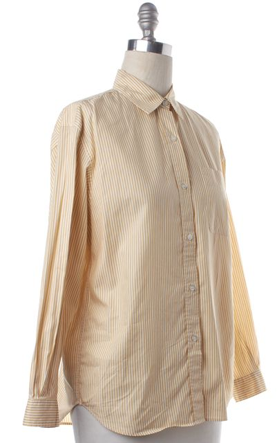 BURBERRY VINTAGE Yellow White Striped Button Down Shirt