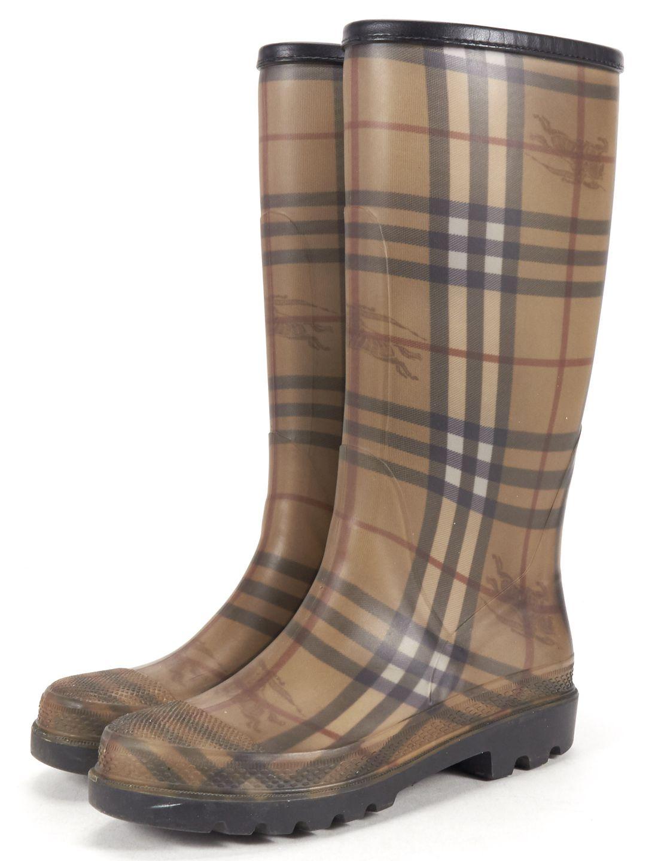 BURBERRY Beige House-Check Rubber Rain Boots