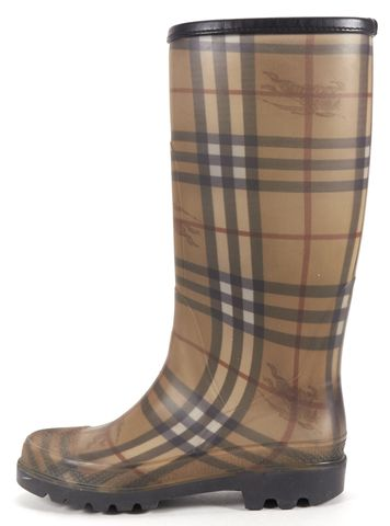 BURBERRY Beige House-Check Rubber Rain Boots