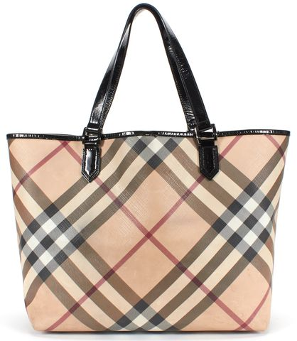 BURBERRY Beige Nova Check Print Coated Canvas Tote Bag