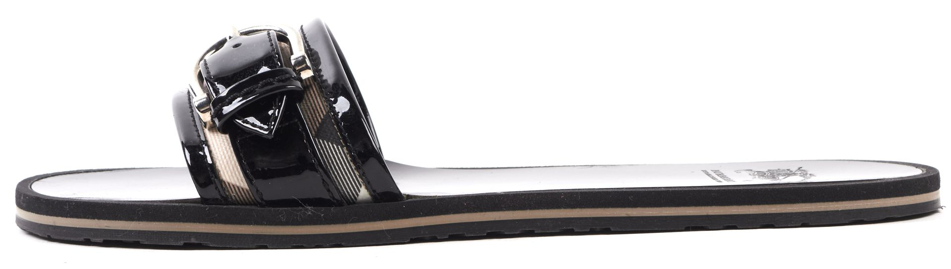BURBERRY Black Beige Patent Leather Coated Canvas Sandals