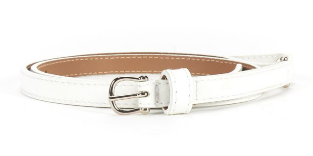 BURBERRY White Patent Leather Belt