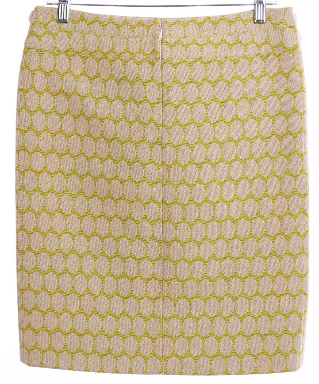 BURBERRY Yellow Ivory Polka Dot Wool Pencil Skirt