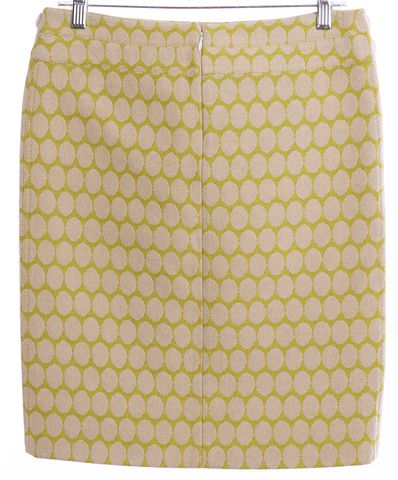 BURBERRY Yellow Ivory Polka Dot Wool Pencil Skirt