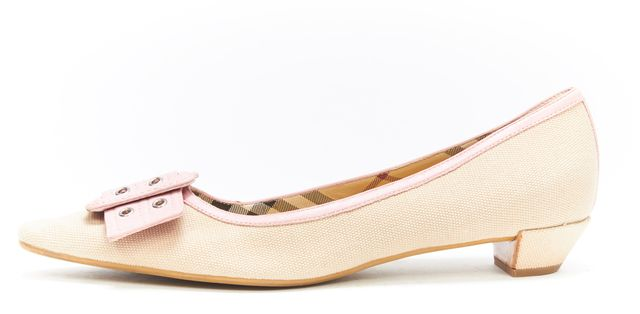 BURBERRY Beige Pink Canvas Leather Buckle Detail Flats