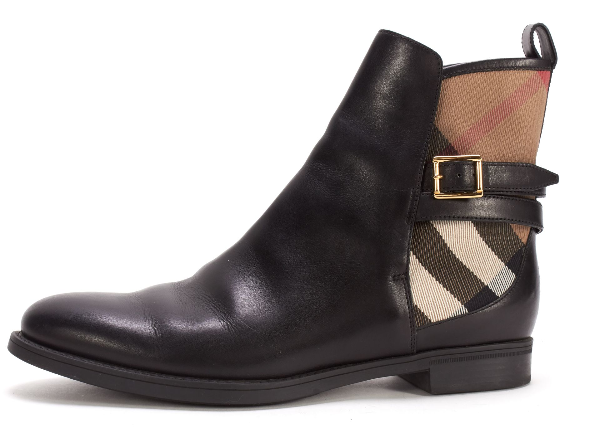 BURBERRY Black Leather House Check Canvas Chelsea Ankle Boots