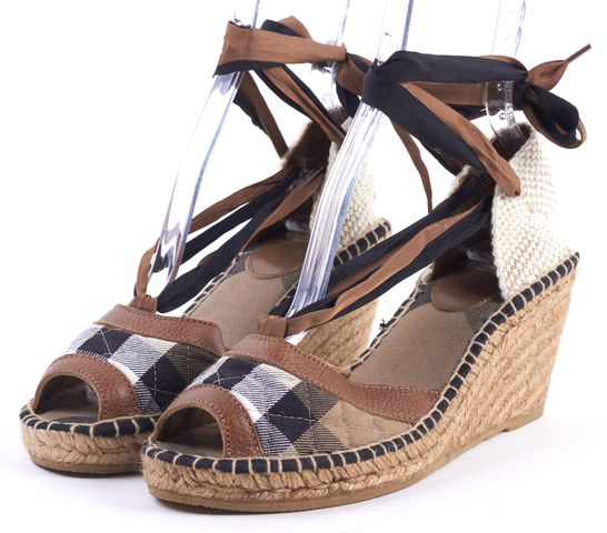 BURBERRY Beige House Check Canvas Espadrille Wedges
