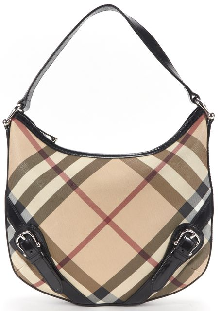 BURBERRY Beige Pink Black Check Coated Canvas Patent Trim Shoulder Bag